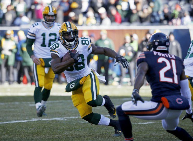 Ty Montgomery enters camp as the favorite to start at tailback for the Packers. (AP)