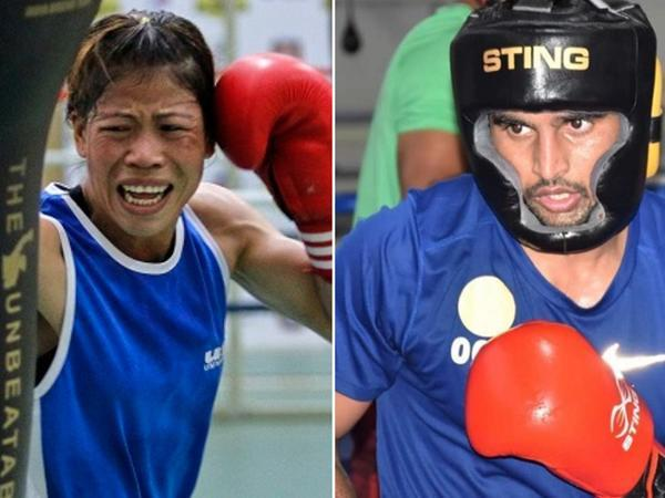 Mary Kom and Commonwealth Games silver medalist Manish Kaushik (Image of Manish: Manish Kaushik's Twitter)