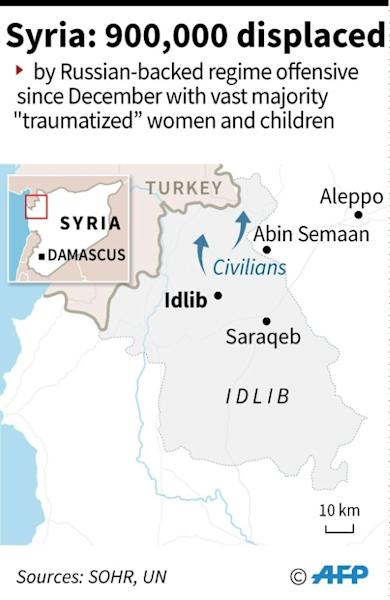Map of Syria showing northwestern Idlib province where the Russian-backed regime offensive and bombardment has displaced nearly 900,000 people since December 2019