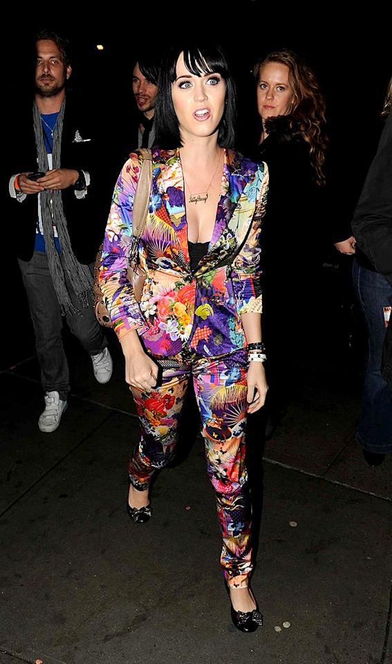 "Katy Perry's wacky sense of style was fun at first; now, it's just painful. Case in point: this seizure-inducing pantsuit. Dario Alequin/<a href=""http://www.infdaily.com"" target=""new"">INFDaily.com</a> - April 6, 2009"