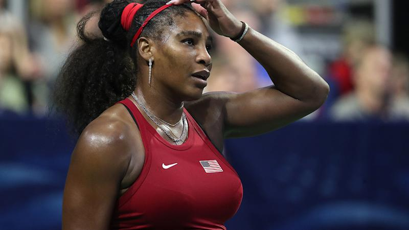 Serena Williams, pictured here while competing against Anastasija Sevastova at the Fed Cup.