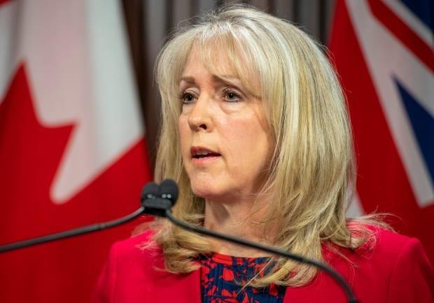 Merrilee Fullerton, Ontario's minister of long-term care, answers questions about the Auditor General's report on her ministry's response to the COVID19 pandemic in Toronto on April 28, 2021. (Frank Gunn/The Canadian Press - image credit)