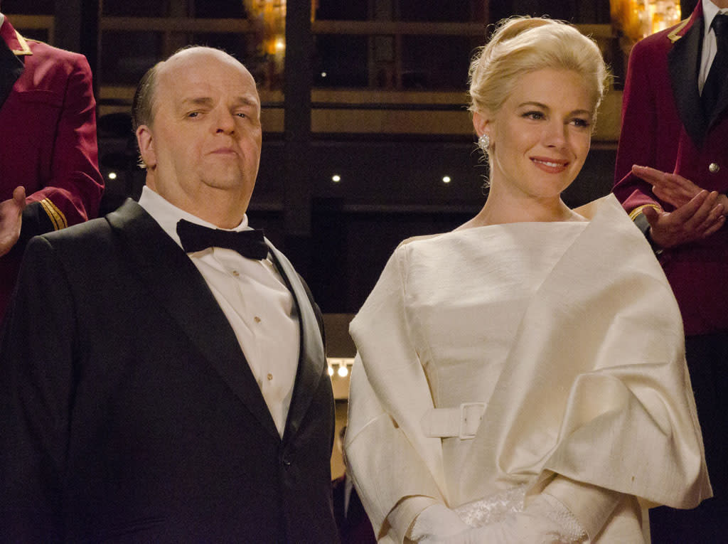 "Toby Jones as Alfred Hitchcock and Sienna Miller as Tippi Hedren in ""The Girl"" on HBO."