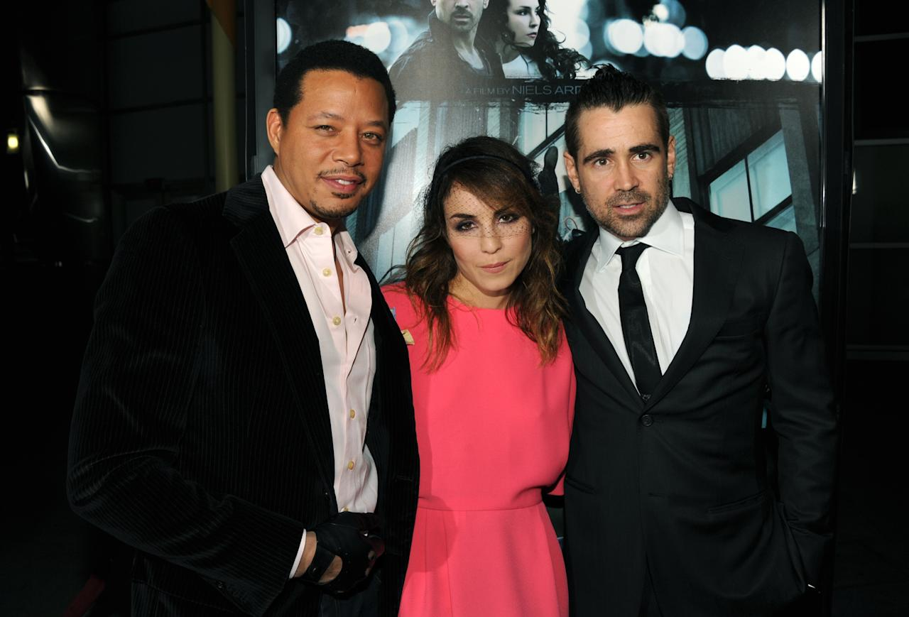 "HOLLYWOOD, CA - FEBRUARY 26:  Actor Terrence Howard, Noomi Rapace and Colin Farrell arrive to the premiere of FilmDistricts's ""Dead Man Down"" at ArcLight Hollywood on February 26, 2013 in Hollywood, California.  (Photo by Kevin Winter/Getty Images)"