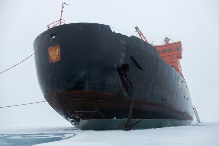 Russia has a fleet of five icebreakers and a container ship and is building four more nuclear-powered vessels within the next five years (AFP/Ekaterina ANISIMOVA)