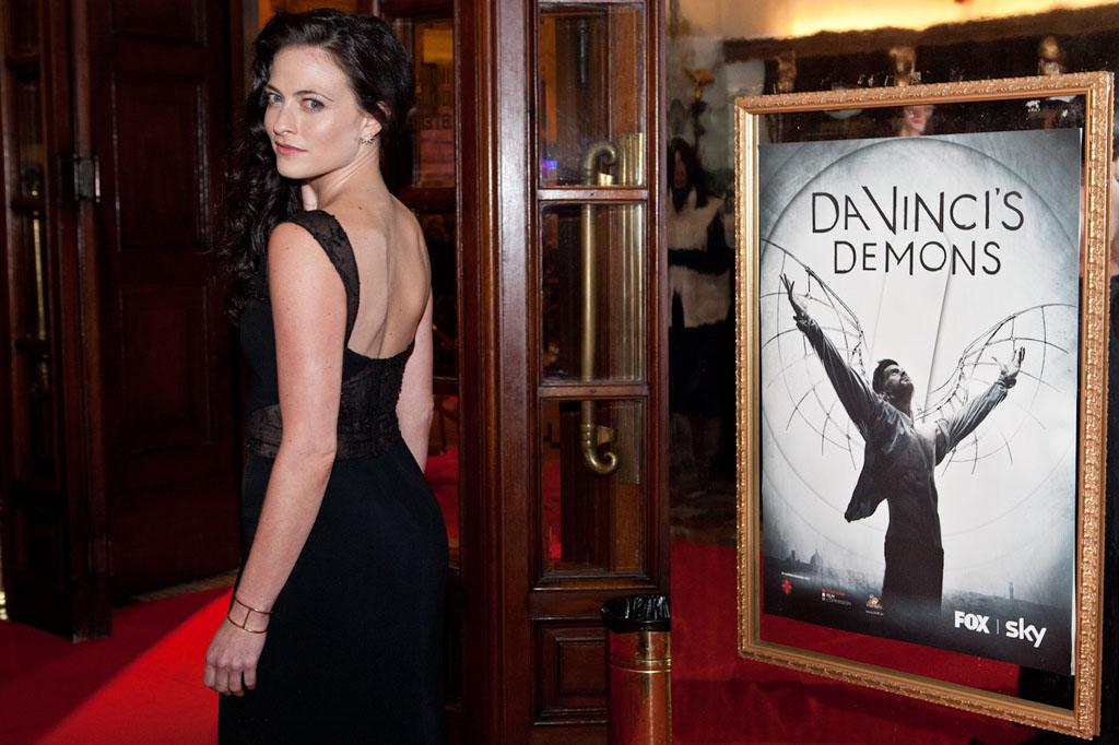 "Lara Pulver (""Clarice Orsini,"" Lorenzo Medici's wife) at the world premiere screening of ""Da Vinci's Demons"" at the Cinema Teatro Odeon in Florence, Italy on April 2."