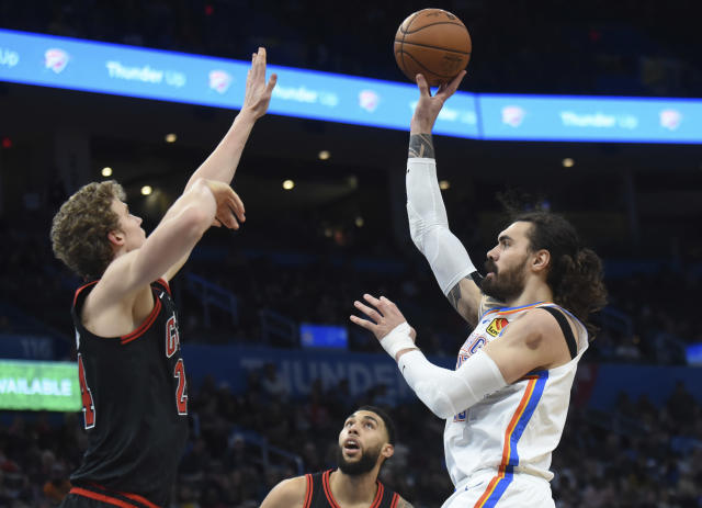 Standing at the free throw line with the game hanging in the balance, Steven Adams could feel the pressure. (AP/Kyle Phillips)