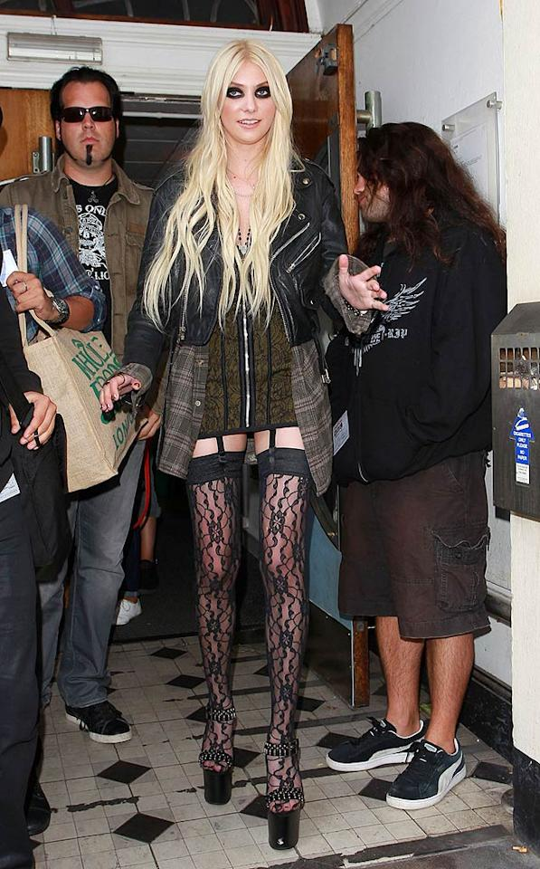 "Now we know why Madonna selected ""Gossip Girl"" star/punk princess Taylor Momsen to be the face of her new clothing line, Material Girl. Clearly, both ladies love them some jaw-dropping duds. <a href=""http://www.pacificcoastnews.com/"" target=""new"">PacificCoastNews.com</a> - August 23, 2010"