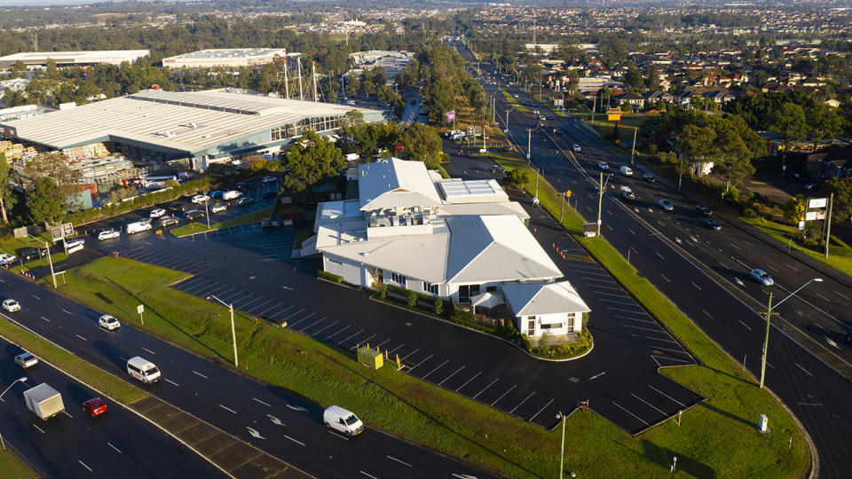 The Crossroads Hotel in Casula, pictured here in an aerial view.