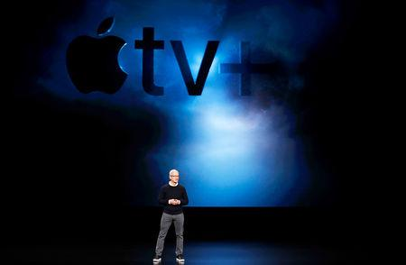FILE PHOTO: Tim Cook, CEO of Apple, speaks during an Apple special event at the Steve Jobs Theater in Cupertino