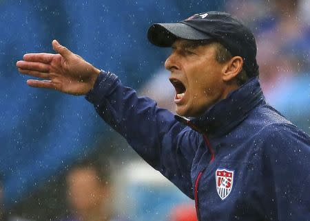 U.S. coach Klinsmann shouts during their 2014 World Cup Group G soccer match against Germany at the Pernambuco arena in Recife