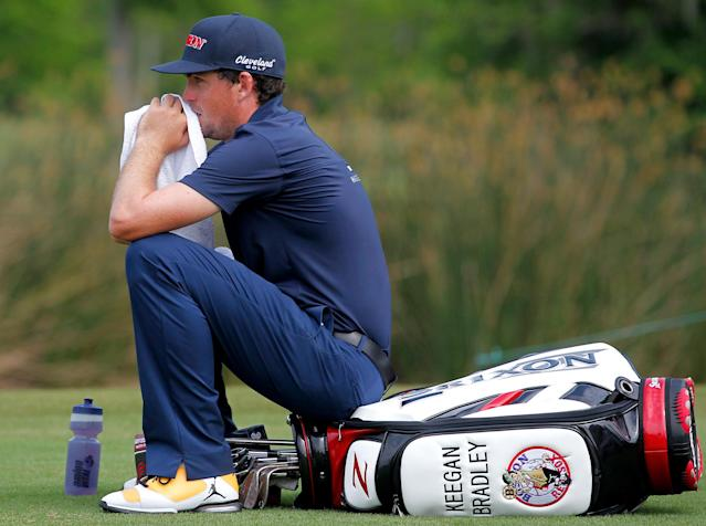 Keegan Bradley waits to tee off on the 18th hole during the third round of the PGA Zurich Classic golf tournament at TPC Louisiana in Avondale, La., Saturday, April 26, 2014. (AP Photo/Jonathan Bachman)