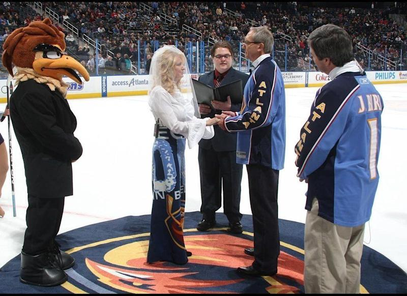 Atlanta Thrashers season-ticket holders David and Cindy Pritchard are married on the ice during the first intermission of the game between the Thrashers and the Boston Bruins at Philips Arena on Dec. 30.