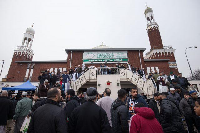 Mourners at Birmingham Central Mosque