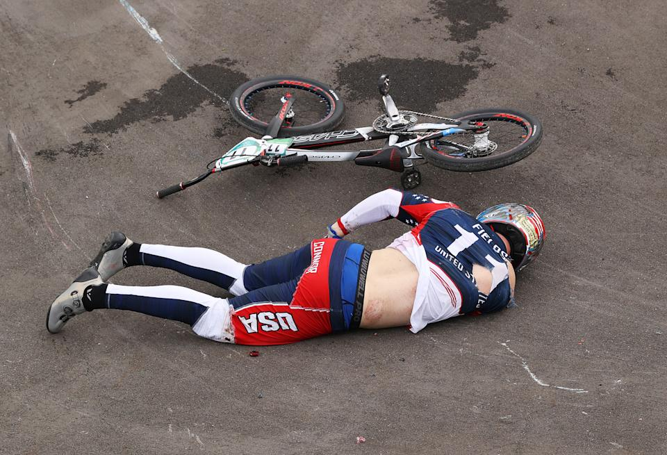 Connor Fields is urging proper perspective on Twitter after his BMX crash at the Tokyo Olympics. (Photo by Francois Nel/Getty Images)