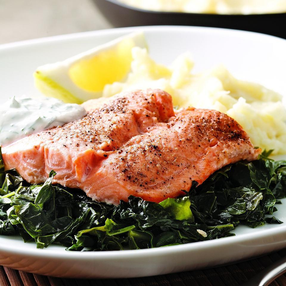 "<p>Arctic char, related to salmon and trout, is sustainably farmed, making it a ""best choice"" for the environment. It has a mild flavor and cooks up quickly. We like the taste and texture of lacinato (aka dinosaur) kale in this dish. Serve with mashed potatoes. <a href=""http://www.eatingwell.com/recipe/249935/arctic-char-on-a-bed-of-kale/"" rel=""nofollow noopener"" target=""_blank"" data-ylk=""slk:View recipe"" class=""link rapid-noclick-resp""> View recipe </a></p>"