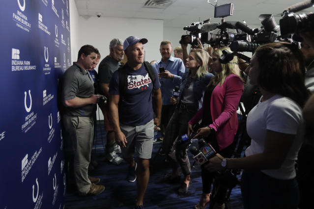 Indianapolis Colts kicker Adam Vinatieri arrives for a news conference at the team's NFL football training facility, Tuesday, Sept. 17, 2019, in Indianapolis. (AP Photo/Darron Cummings)