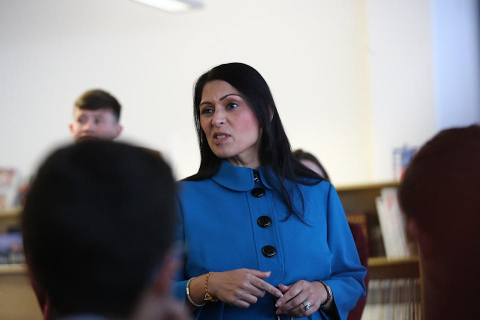 Home Secretary Priti Patel visits Chessington School in Chessington, Surrey, during the General Election campaign. (Photo by Aaron Chown/PA Images via Getty Images)