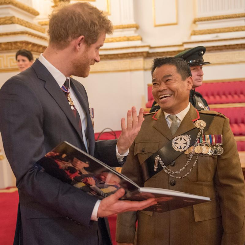 Prince Harry reunites with Major Chancre Bahadur Pun - Credit: Arthur Edwards