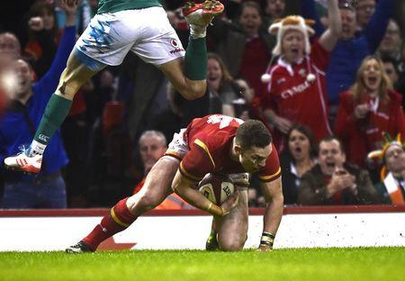 FILE PHOTO: Britain Rugby Union - Wales v Ireland - Six Nations Championship - Principality Stadium, Cardiff - 10/3/17 Wales' George North scores their second try Reuters / Rebecca Naden
