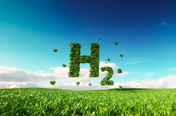 The symbol for diatomic hydrogen, or H2, made of grass.
