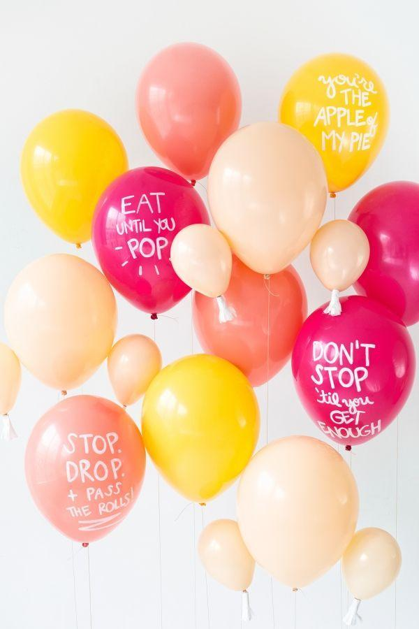 """<p>It doesn't get much more whimsical than balloons in the shape of roasted turkey legs. Whether you choose to add in a few of the Thanksgiving phrase balloons as well or just go all in on on the legs themselves, you're setting yourself up for serious Thanksgiving success.</p><p><strong>Get the tutorial at <a href=""""https://studiodiy.com/2015/11/19/diy-thanksgiving-balloons/"""" rel=""""nofollow noopener"""" target=""""_blank"""" data-ylk=""""slk:Studio DIY"""" class=""""link rapid-noclick-resp"""">Studio DIY</a>.</strong></p><p><strong><a class=""""link rapid-noclick-resp"""" href=""""https://www.amazon.com/Andaz-Press-Classroom-Thanksgiving-Decorations/dp/B071XVCX89?tag=syn-yahoo-20&ascsubtag=%5Bartid%7C10050.g.1371%5Bsrc%7Cyahoo-us"""" rel=""""nofollow noopener"""" target=""""_blank"""" data-ylk=""""slk:SHOP BALLOONS"""">SHOP BALLOONS</a><br></strong></p>"""