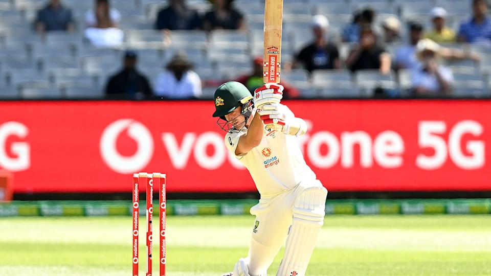 Seen here, Joe Burns gets out for a duck on day one of the Boxing Day Test.