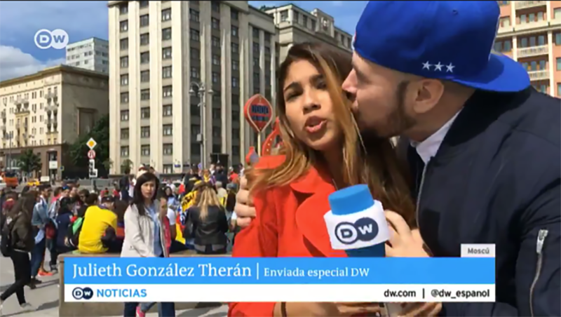 Colombian Reporter Gets Groped During World Cup Segment By Idiot Fan