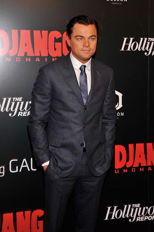 """NEW YORK, NY - DECEMBER 11:  Leonardo DiCaprio attends a screening of """"Django Unchained"""" hosted by The Weinstein Company with The Hollywood Reporter, Samsung Galaxy and The Cinema Society at Ziegfeld Theater on December 11, 2012 in New York City.  (Photo by Stephen Lovekin/Getty Images)"""