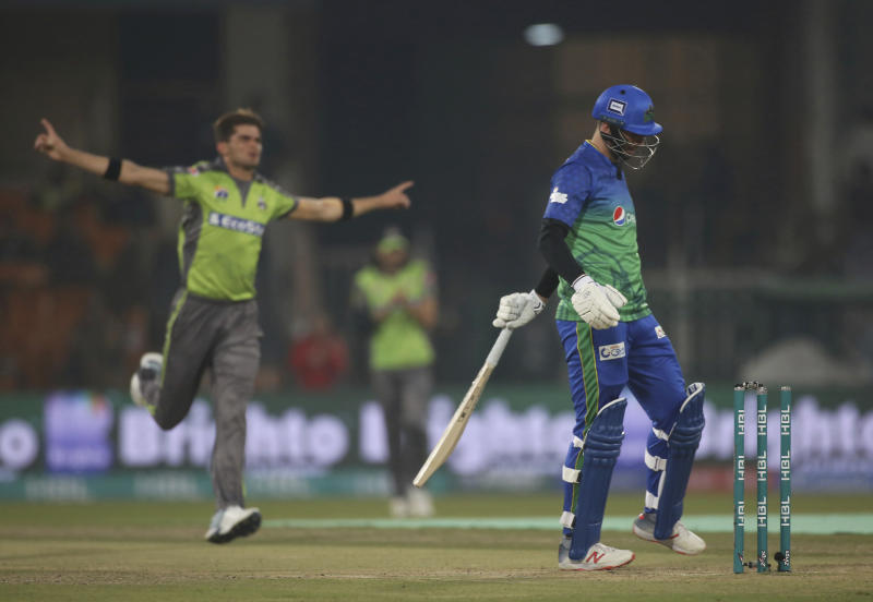 Shaheen Afridi of Lahore Qalandar celebrates the dismissal of James Vince of Multan Sultans in the Pakistan Super League match in Lahore, Pakistan, Friday, Feb. 21, 2020. (AP Photo/K.M. Chaudhry)