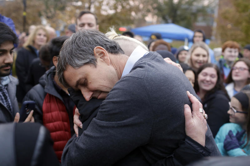 Democratic presidential candidate and former Rep. Beto O'Rourke (D-TX) hugs volunteer Charlie Jordan after announcing he was dropping out of the presidential race before the start of the Iowa Democratic Party Liberty & Justice Celebration on November 1, 2019 in Des Moines, Iowa. (Photo: Joshua Lott/Getty Images)