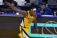 Indiana Pacers center Myles Turner celebrates after shooting a 3-point basket against the Golden State Warriors during the second half of an NBA basketball game in San Francisco, Tuesday, Jan. 12, 2021. (AP Photo/Jeff Chiu)