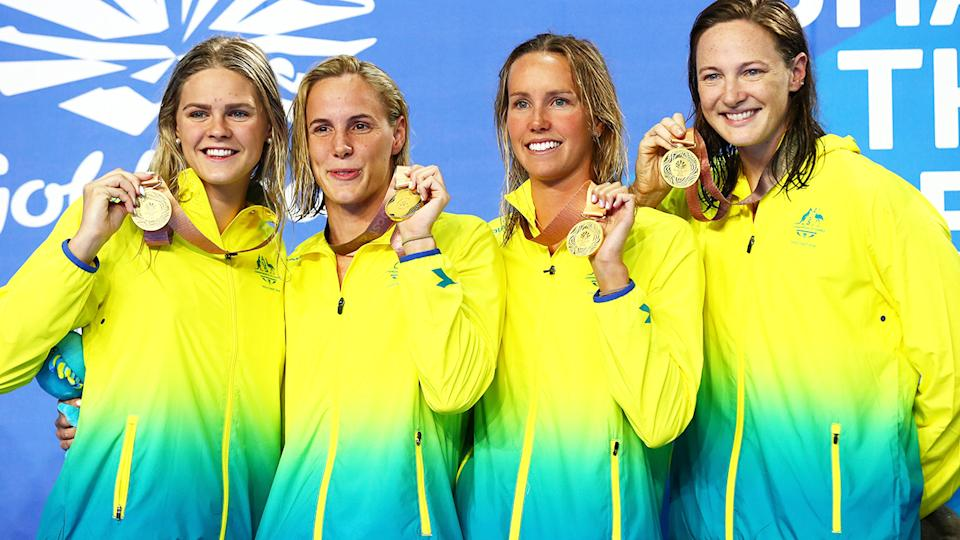Shayna Jack (L) with Bronte Campbell, Emma Mckeon and Cate Campbell at the 2018 Commonwealth Games on the Gold Coast.  (Photo by Clive Rose/Getty Images)