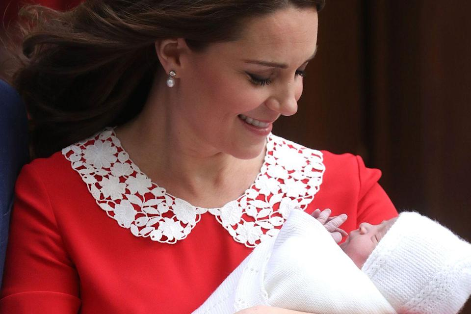 """<p>Here, the Duchess of Cambridge is holding her newborn son, <a href=""""https://www.goodhousekeeping.com/life/a20196259/first-photos-prince-louis-instagram/"""" rel=""""nofollow noopener"""" target=""""_blank"""" data-ylk=""""slk:Prince Louis of Cambridge"""" class=""""link rapid-noclick-resp"""">Prince Louis of Cambridge</a>, who was born on April 23. </p>"""