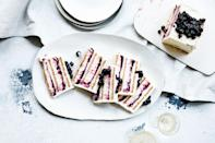 """The more particular you are when building the layers in the loaf pan, the more neat and tidy this will look when sliced. But if it's a little uneven and the layers blend together, so be it! <a href=""""https://www.bonappetit.com/recipe/blueberry-lemon-icebox-cake?mbid=synd_yahoo_rss"""" rel=""""nofollow noopener"""" target=""""_blank"""" data-ylk=""""slk:See recipe."""" class=""""link rapid-noclick-resp"""">See recipe.</a>"""