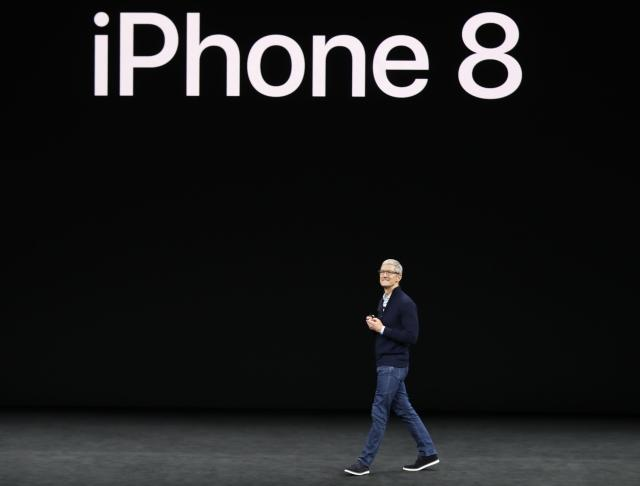 <p>Apple CEO Tim Cook and other executives also unveiled the iPhone 8 at the Sept. 12 event. REUTERS/Stephen Lam </p>
