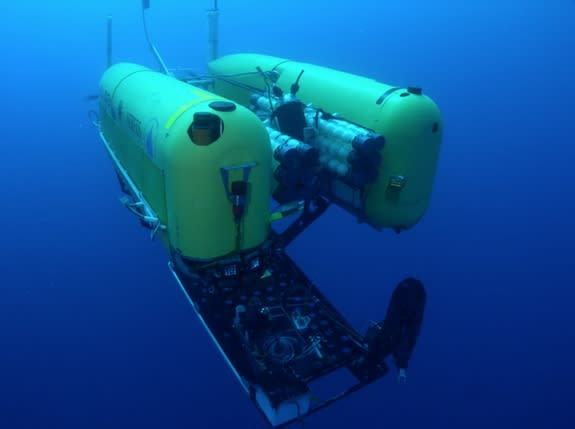 The hybrid remotely operated vehicle (ROV) called Nereus (shown here) has been tasked with exploring the deepest parts of the Earth's ocean where pressure can be as great as 16,000 pounds per square inch. It has explored the world's deepest tre