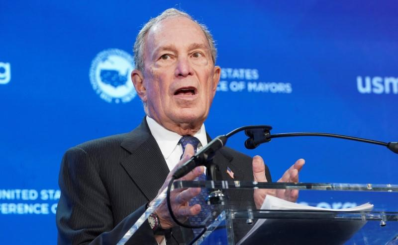FILE PHOTO: Democratic presidential candidate, former New York mayor Michael Bloomberg, speaks before the United States Conference of Mayors in Washington