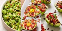 """<p><a href=""""https://www.delish.com/uk/food-news/a35276885/how-to-ripen-avocados-quickly/"""" rel=""""nofollow noopener"""" target=""""_blank"""" data-ylk=""""slk:Avocados"""" class=""""link rapid-noclick-resp"""">Avocados</a>. Name a more versatile ingredient? That's what we thought, avocados are practically the definition of versatile. And in this round-up of our favourite avocado recipes of all time, you'll find out just why. We're talking everything from <a href=""""https://www.delish.com/uk/cooking/recipes/a34434476/avocado-egg-boats-recipe/"""" rel=""""nofollow noopener"""" target=""""_blank"""" data-ylk=""""slk:Avocado Eggs Boats"""" class=""""link rapid-noclick-resp"""">Avocado Eggs Boats</a> to <a href=""""https://www.delish.com/uk/cooking/recipes/a33306799/chocolate-avocado-bread-recipe/"""" rel=""""nofollow noopener"""" target=""""_blank"""" data-ylk=""""slk:Chocolate Avocado Bread"""" class=""""link rapid-noclick-resp"""">Chocolate Avocado Bread</a>, and <a href=""""https://www.delish.com/uk/cooking/recipes/a30271400/pesto-pasta/"""" rel=""""nofollow noopener"""" target=""""_blank"""" data-ylk=""""slk:Avocado Pesto Pasta"""" class=""""link rapid-noclick-resp"""">Avocado Pesto Pasta</a> to <a href=""""https://edit-delish.hearstapps.com/uk/content/edit/cdb45842-bd80-4420-a1c8-64ed2f7c191a#"""" rel=""""nofollow noopener"""" target=""""_blank"""" data-ylk=""""slk:Avocado Pancakes"""" class=""""link rapid-noclick-resp"""">Avocado Pancakes</a>. Those little guys can be used for just about any type of meal throughout the day, whether it's breakfast, lunch or dinner (not to mention, snacks and desserts). </p>"""