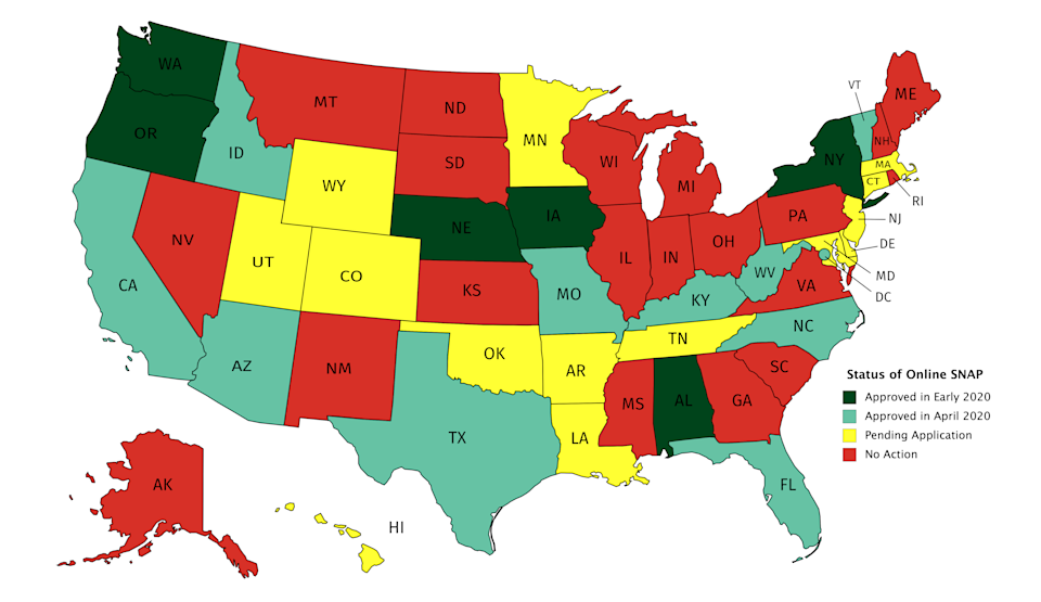 Map of the United States color coded by status of Online SNAP in each state + DC. Approved for Online SNAP in Early 2020: NY, WA, AL, IA, OR, NE. (6 states) – dark green Approved for Online SNAP in April 2020: AZ, CA, DC, FL, ID, KY, MO, NC, TX, WV, VT (10 states plus the district) – light green Pending Application: AR, CO, CT, DE, HI, LA, MD, MA, MN, NJ, OK, TN, UT, WY. (14 states) – yellow No Action on Online SNAP: AK, GA, IL, IN, KS, ME, MI, MS, MT, NH, NV, NM, ND, OH, PA, RI, SC, SD, VA, WI – red