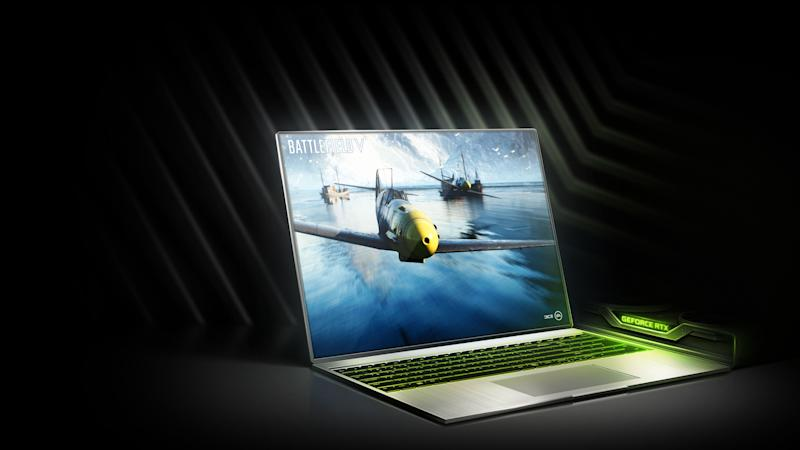 A laptop computer with a video game displayed on the screen and a video card laying to the side with the words GeForce RTX lit in green light.