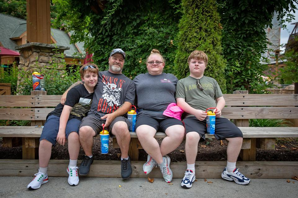 Image: Ashley and Brian Rowland with their sons, Benjamin, 13, and Matthew, 15 (Jessica Tezak / for NBC News)