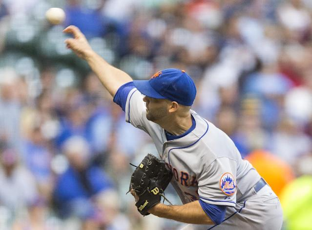 New York Mets' Dillon Gee pitches to a Milwaukee Brewers' batter during the first inning of a baseball game Thursday, July 24, 2014, in Milwaukee. (AP Photo/Tom Lynn)