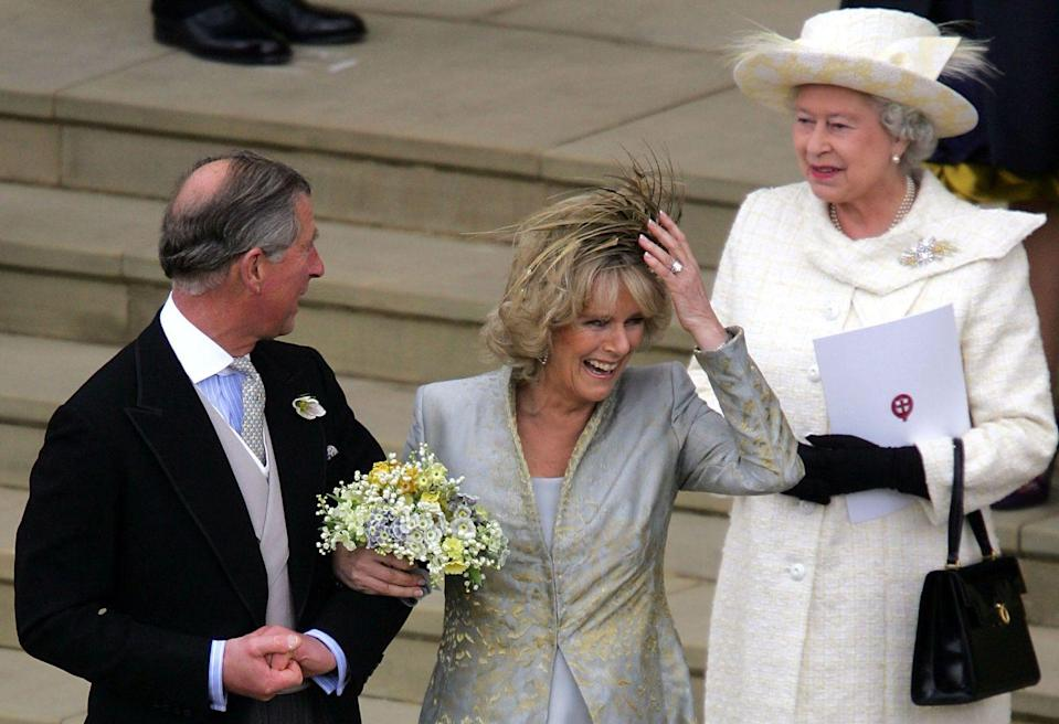 "<p>After <a href=""https://www.harpersbazaar.com/celebrity/latest/a29601605/prince-charles-camilla-parker-bowles-relationship-timeline/"" rel=""nofollow noopener"" target=""_blank"" data-ylk=""slk:Prince Charles and Camilla, Duchess of Cornwall"" class=""link rapid-noclick-resp"">Prince Charles and Camilla, Duchess of Cornwall</a>, tied the knot on April 9, 2005, Queen Elizabeth turned up at The Guildhall at Windsor Castle for the Service of Prayer and Dedication. However, she didn't make it to her son's actual ceremony, with <a href=""https://www.telegraph.co.uk/news/uknews/1486998/I-had-to-put-Church-before-Charles-says-the-Queen.html"" rel=""nofollow noopener"" target=""_blank"" data-ylk=""slk:The Telegraph"" class=""link rapid-noclick-resp""><em>The Telegraph</em></a> reporting at the time, ""She is putting her duties as the head of the Church of England before family feelings."" As such, the Queen allegedly didn't feel that she could attend a civil wedding ceremony and didn't ""want to set a precedent that could damage the Church of England.""<br></p>"