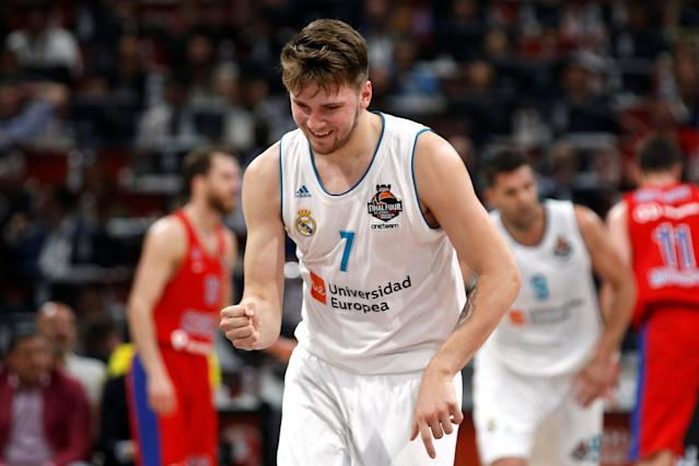 Basketball - EuroLeague Final Four Semi Final A - CSKA Moscow vs Real Madrid - ?Stark Arena?, Belgrade, Serbia - May 18, 2018 Real Madrid's Luka Doncic reacts REUTERS/Alkis Konstantinidis