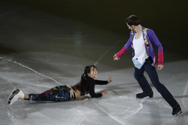 Yura Min and Alexander Gamelin of South Korea perform during the figure skating exhibition gala in the Gangneung Ice Arena at the 2018 Winter Olympics in Gangneung, South Korea, Sunday, Feb. 25, 2018. (AP Photo/Felipe Dana)