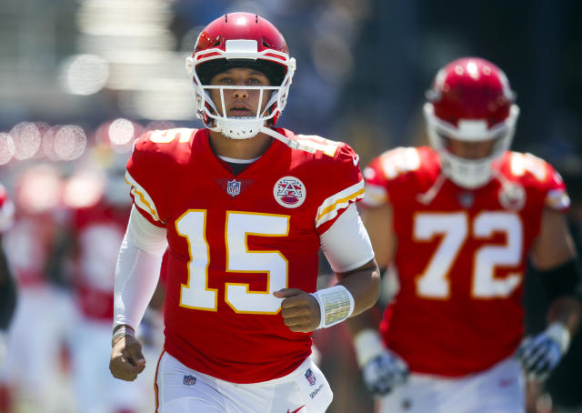 FILE - In this Sunday, Sept. 9, 2018, file photo, Kansas City Chiefs quarterback Patrick Mahomes runs onto the field before an NFL football game against the Los Angeles Chargers in Carson, Calif. Mahomes will try to build upon his impressive season opener when the Chiefs visit the Pittsburgh Steelers on Sunday. (AP Photo/Jae C. Hong, File)