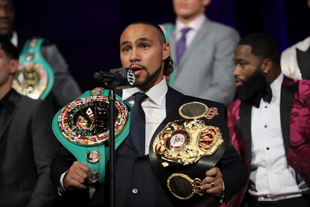 WBA-WBC welterweight champion Keith Thurman speaks about his return to boxing following elbow surgery at a Showtime news conference in New York. (Getty Images)