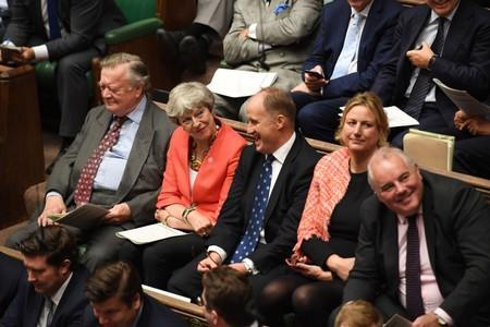 Britain's former Prime Minister Theresa May attends the Prime Minister's Questions session in the House of Commons in London