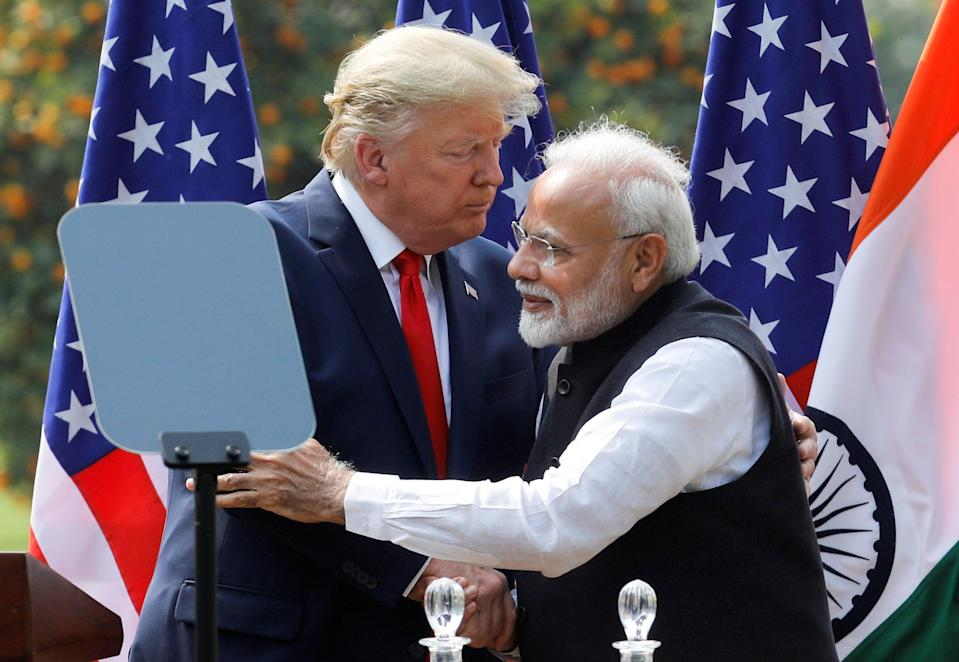 US President Donald Trump and India's Prime Minister Narendra Modi embrace during a joint news conference after bilateral talks at Hyderabad House in New Delhi, India, February 25, 2020. (REUTERS/Adnan Abidi/File Photo) (REUTERS)